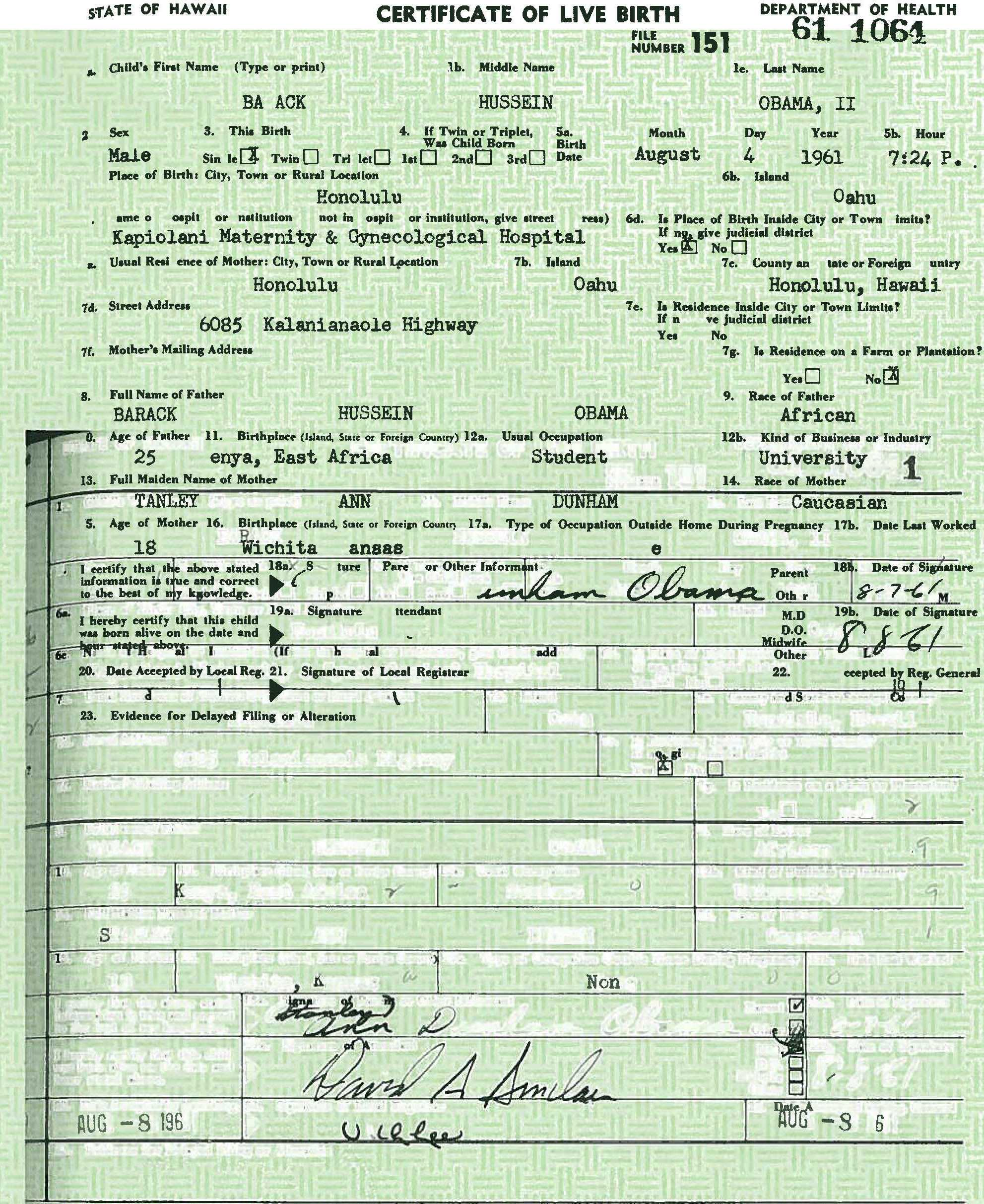 The real truth about obamas certificate of live birth h2ooflife obama birth certificate altered xflitez Choice Image